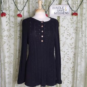 WILLOW BLACK LARGE CABLE KNIT 5 BUTTON TOP